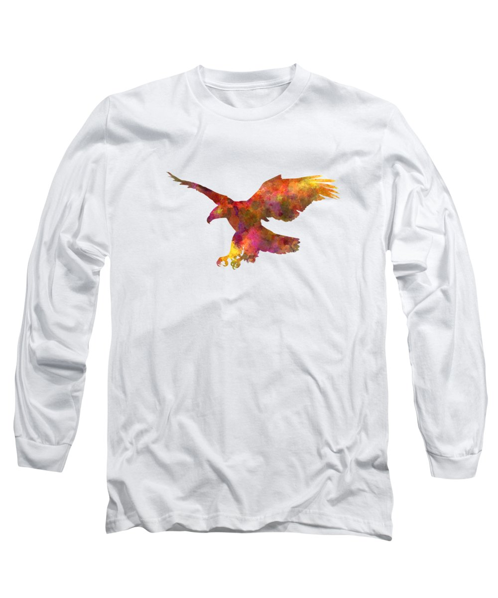 Bald Long Sleeve T-Shirt featuring the painting Bald Eagle 01 In Watercolor by Pablo Romero