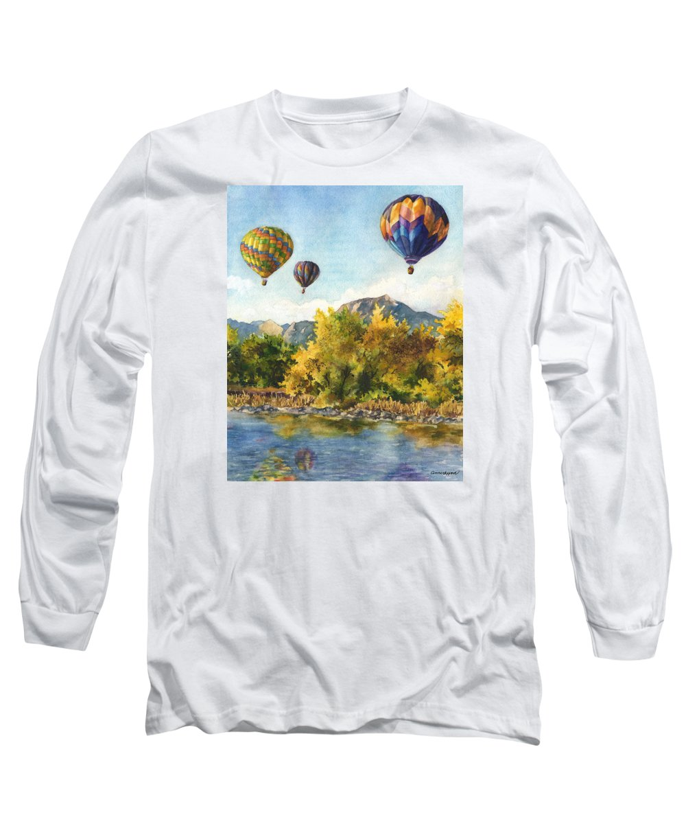 Hot Air Balloons Painting Long Sleeve T-Shirt featuring the painting Balloons At Twin Lakes by Anne Gifford