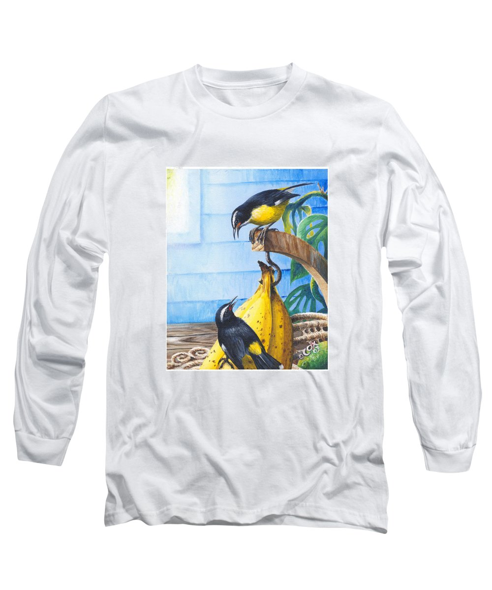 Chris Cox Long Sleeve T-Shirt featuring the painting Bananaquits And Bananas by Christopher Cox