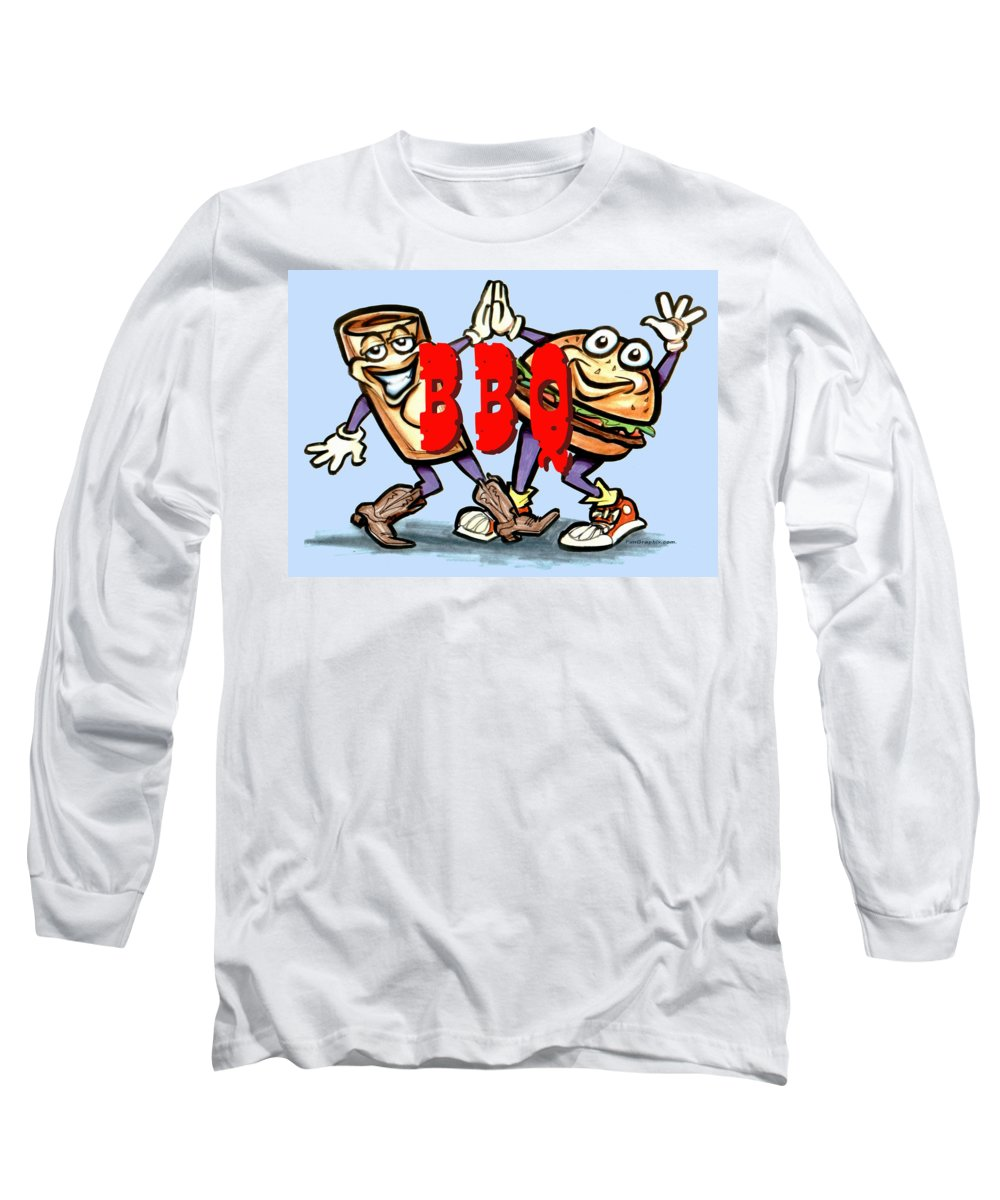 Bbq Long Sleeve T-Shirt featuring the greeting card Bar-b-q by Kevin Middleton