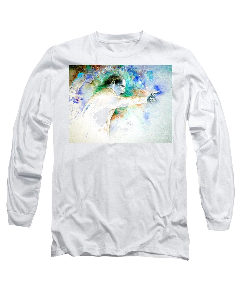 Portrait Barack Obama Long Sleeve T-Shirt featuring the painting Barack Obama Pointing At You by Miki De Goodaboom