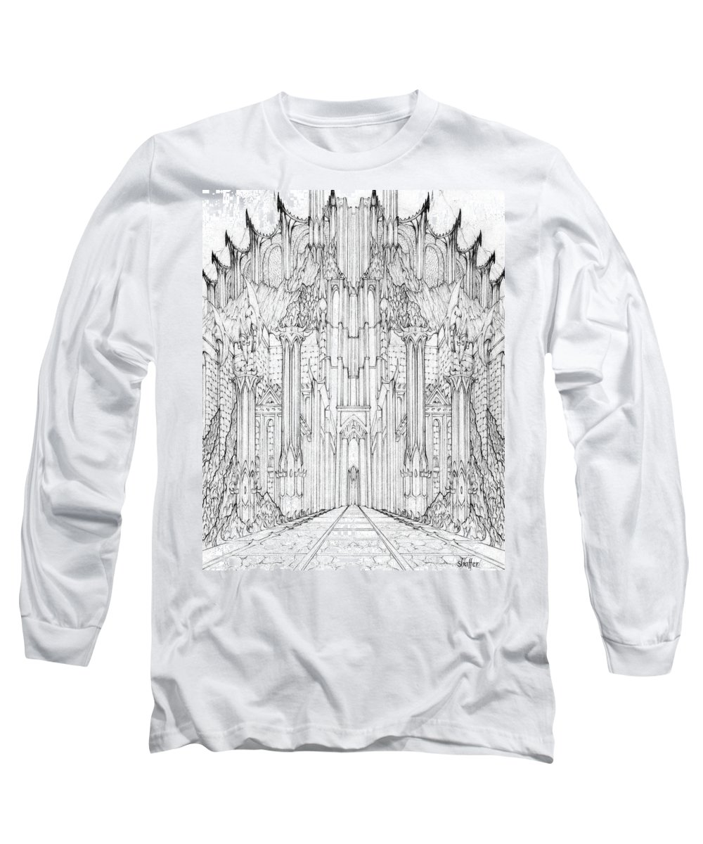 Barad-dur Long Sleeve T-Shirt featuring the drawing Barad-dur Gate Study by Curtiss Shaffer