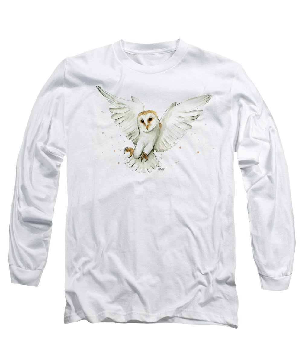 Owl Long Sleeve T-Shirt featuring the painting Barn Owl Flying Watercolor by Olga Shvartsur