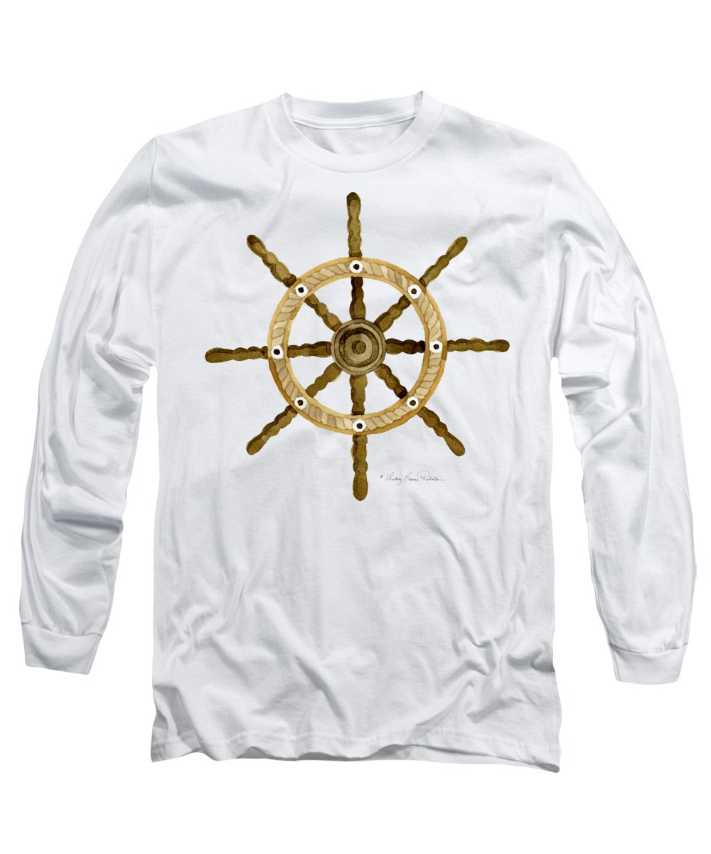 Ship Long Sleeve T-Shirt featuring the painting Beach House Nautical Boat Ship Anchor Vintage by Audrey Jeanne Roberts