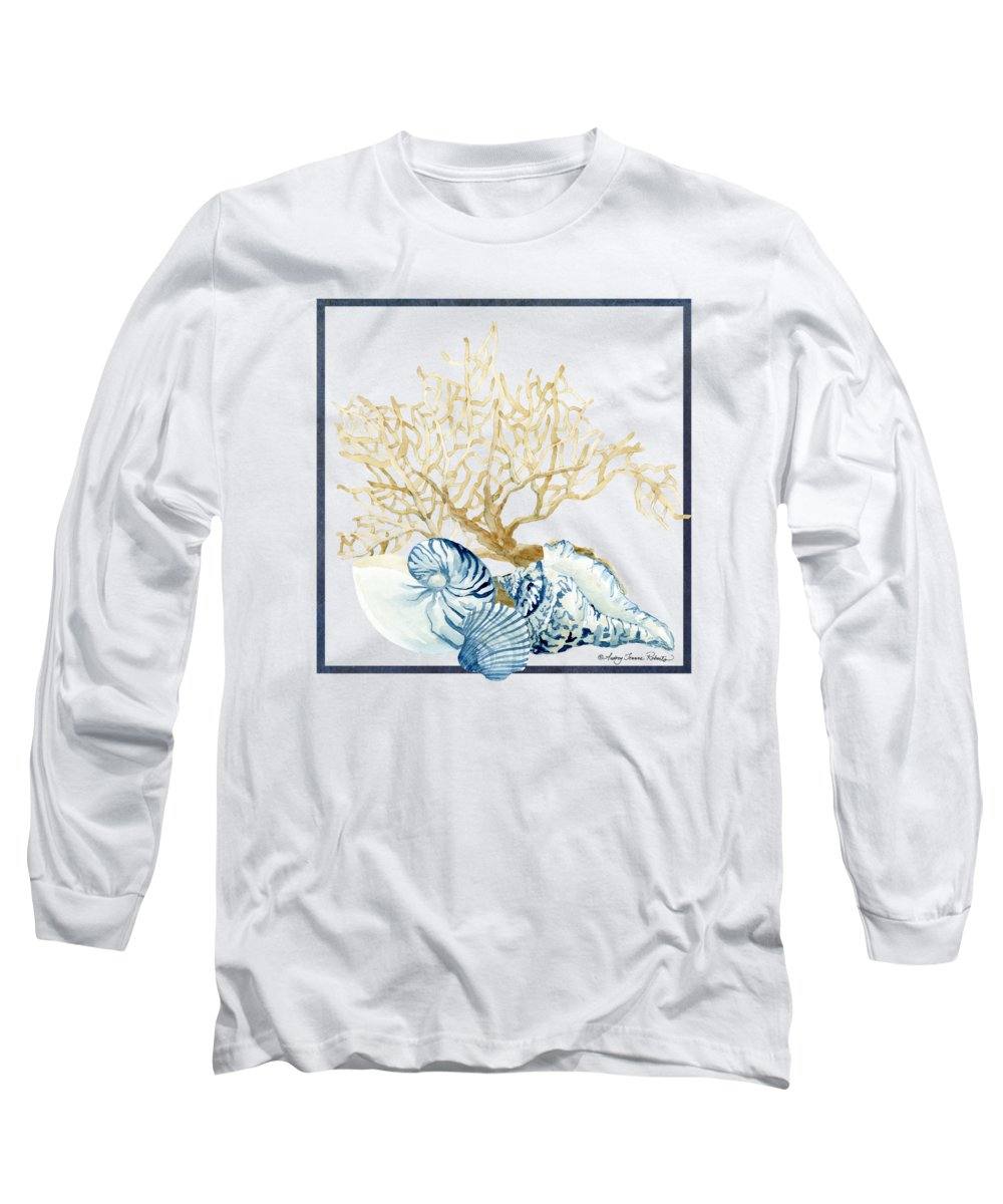 Sea Long Sleeve T-Shirt featuring the painting Beach House Nautilus Scallop N Conch With Tan Fan Coral by Audrey Jeanne Roberts