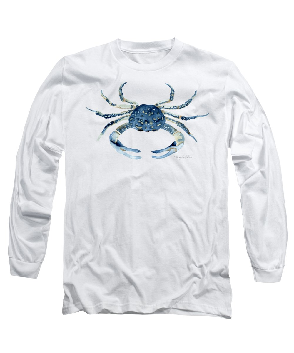 Sea Life Long Sleeve T-Shirt featuring the painting Beach House Sea Life Blue Crab by Audrey Jeanne Roberts