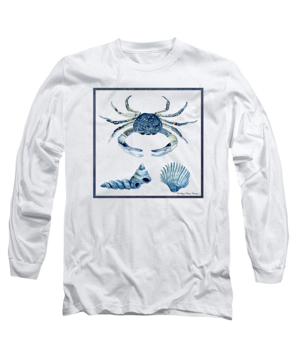 Sea Long Sleeve T-Shirt featuring the painting Beach House Sea Life Crab Turban Shell N Scallop by Audrey Jeanne Roberts