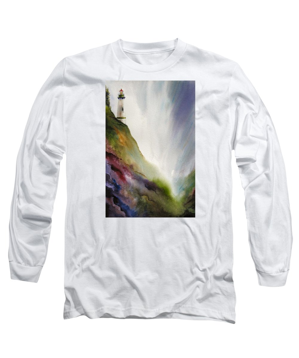 Lighthouse Long Sleeve T-Shirt featuring the painting Beacon by Karen Stark