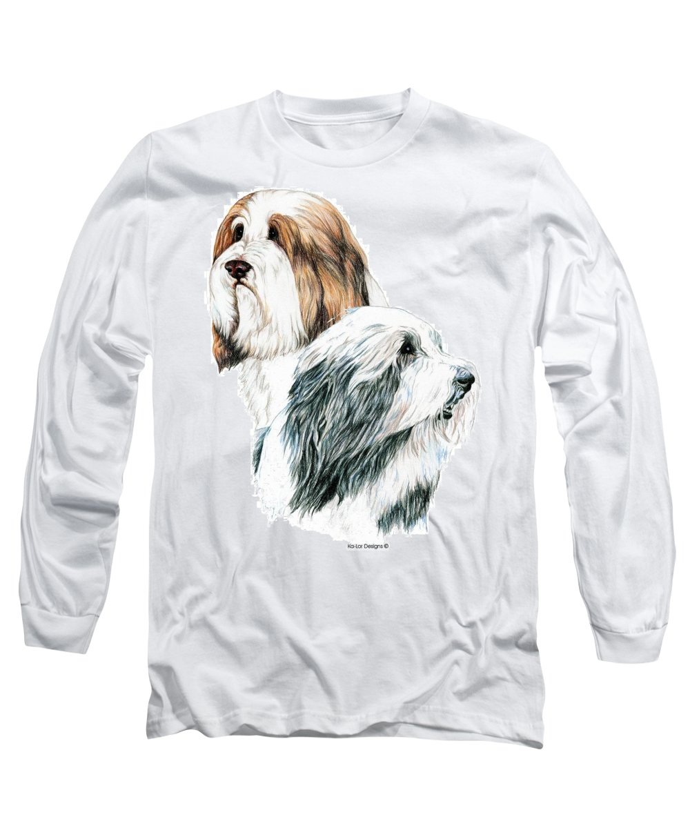 Bearded Collies Long Sleeve T-Shirt featuring the drawing Bearded Collies by Kathleen Sepulveda
