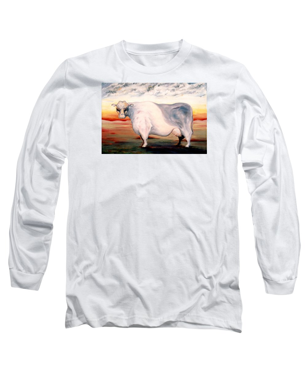 Cow Long Sleeve T-Shirt featuring the painting Beef Holocaust II by Mark Cawood
