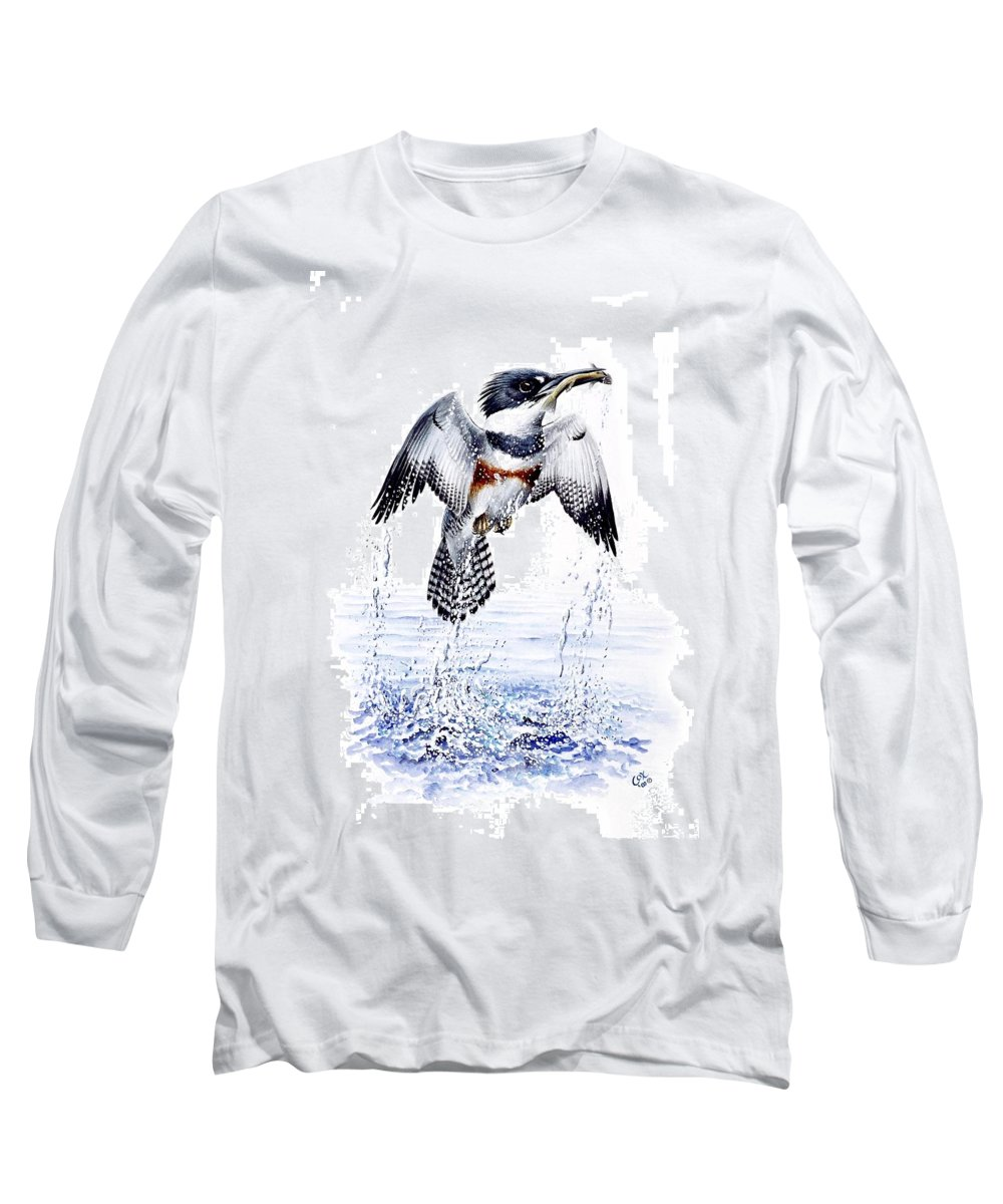 Chris Cox Long Sleeve T-Shirt featuring the painting Belted Kingfisher by Christopher Cox