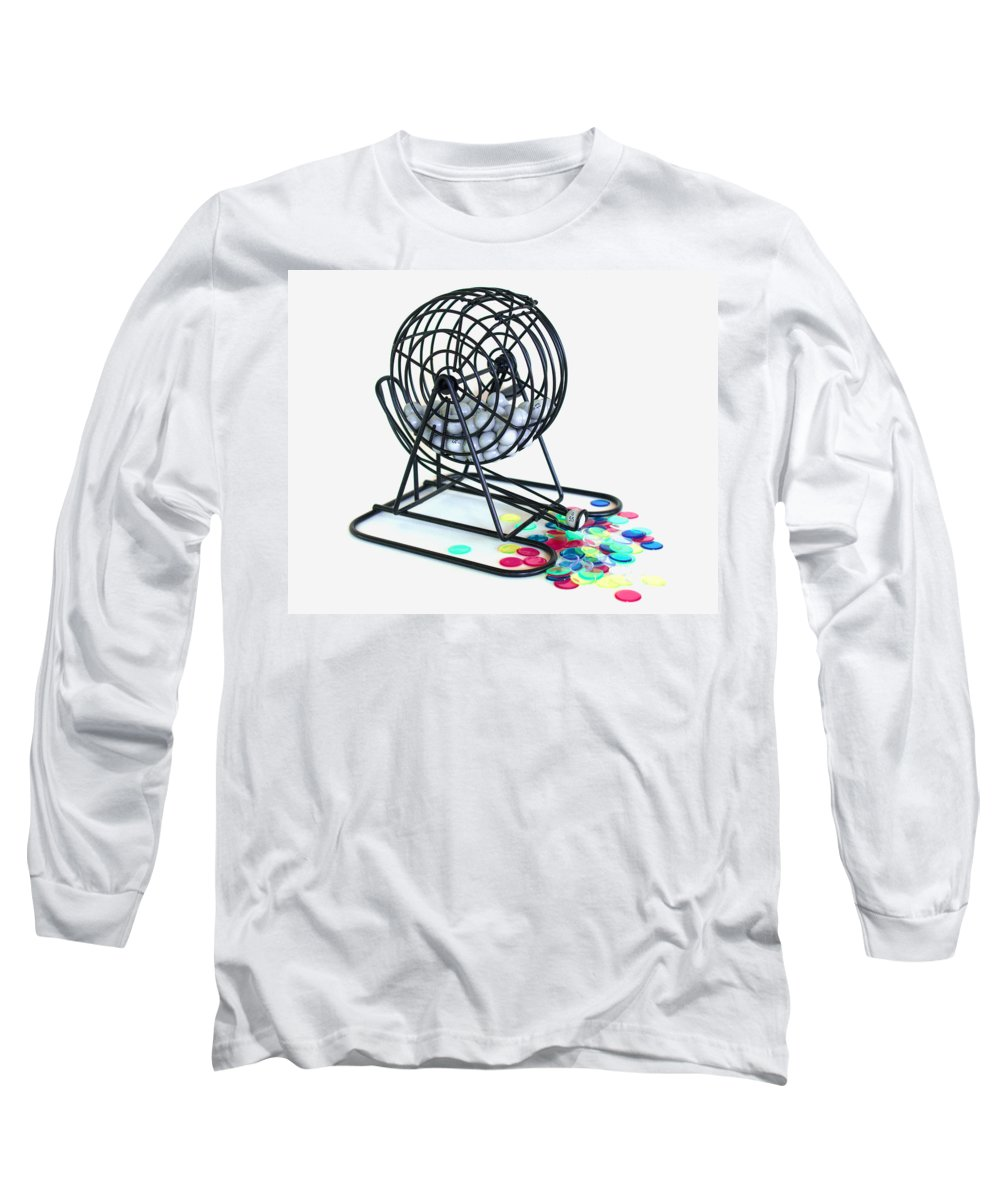 Bingo; Ball; Keno; Balls; Random; Cage; Rotate; Rotating; Drawn; Draw; Caller; Cheat; Cheating; Card Long Sleeve T-Shirt featuring the photograph Bingo Cage by Allan Hughes