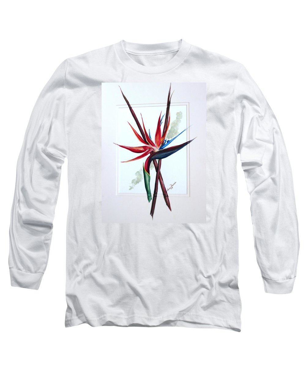 Floral Tropical Caribbean Flower Long Sleeve T-Shirt featuring the painting Bird Of Paradise Lily by Karin Dawn Kelshall- Best