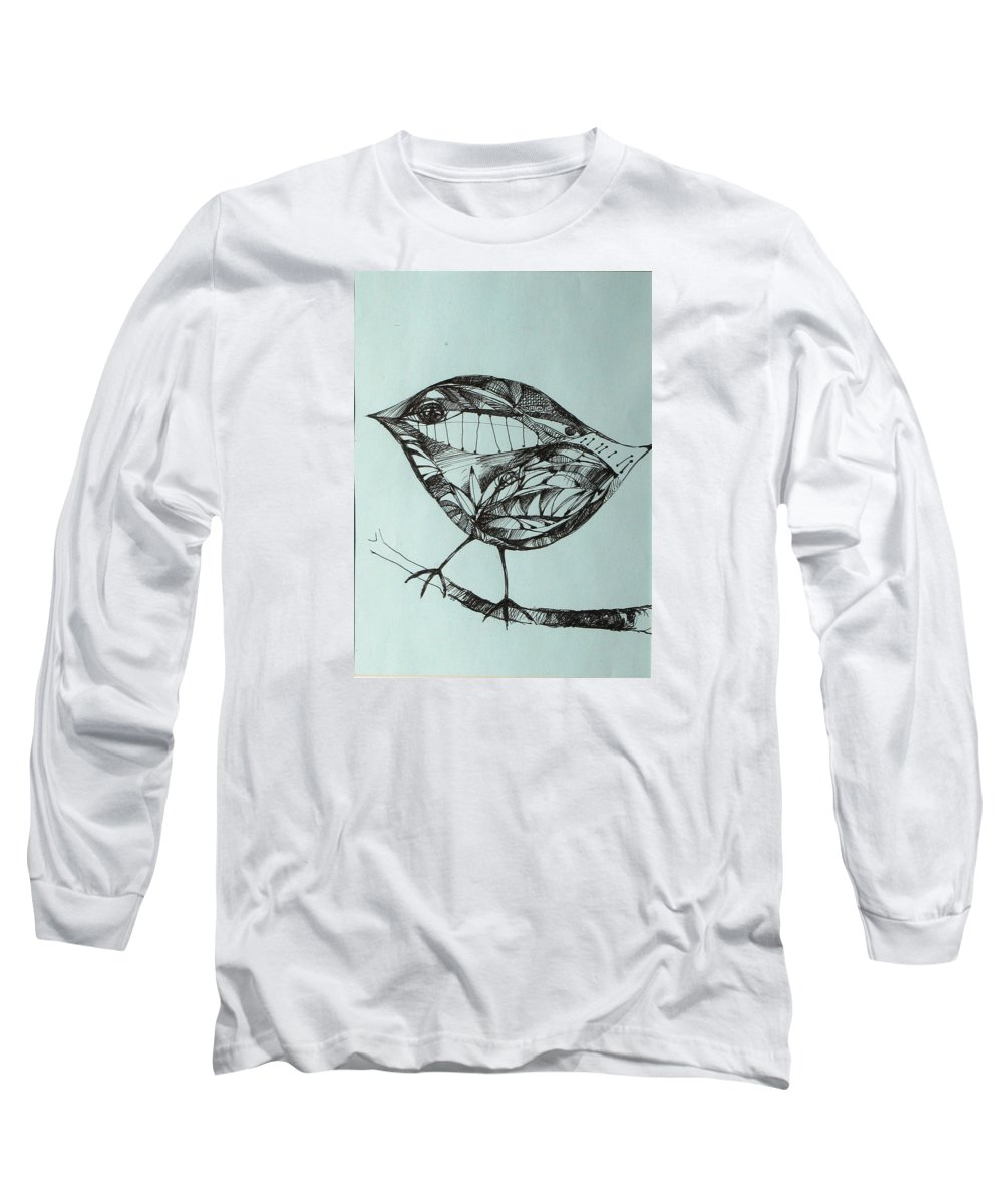 Artwork Long Sleeve T-Shirt featuring the drawing Bird On A Brench by Cristina Rettegi