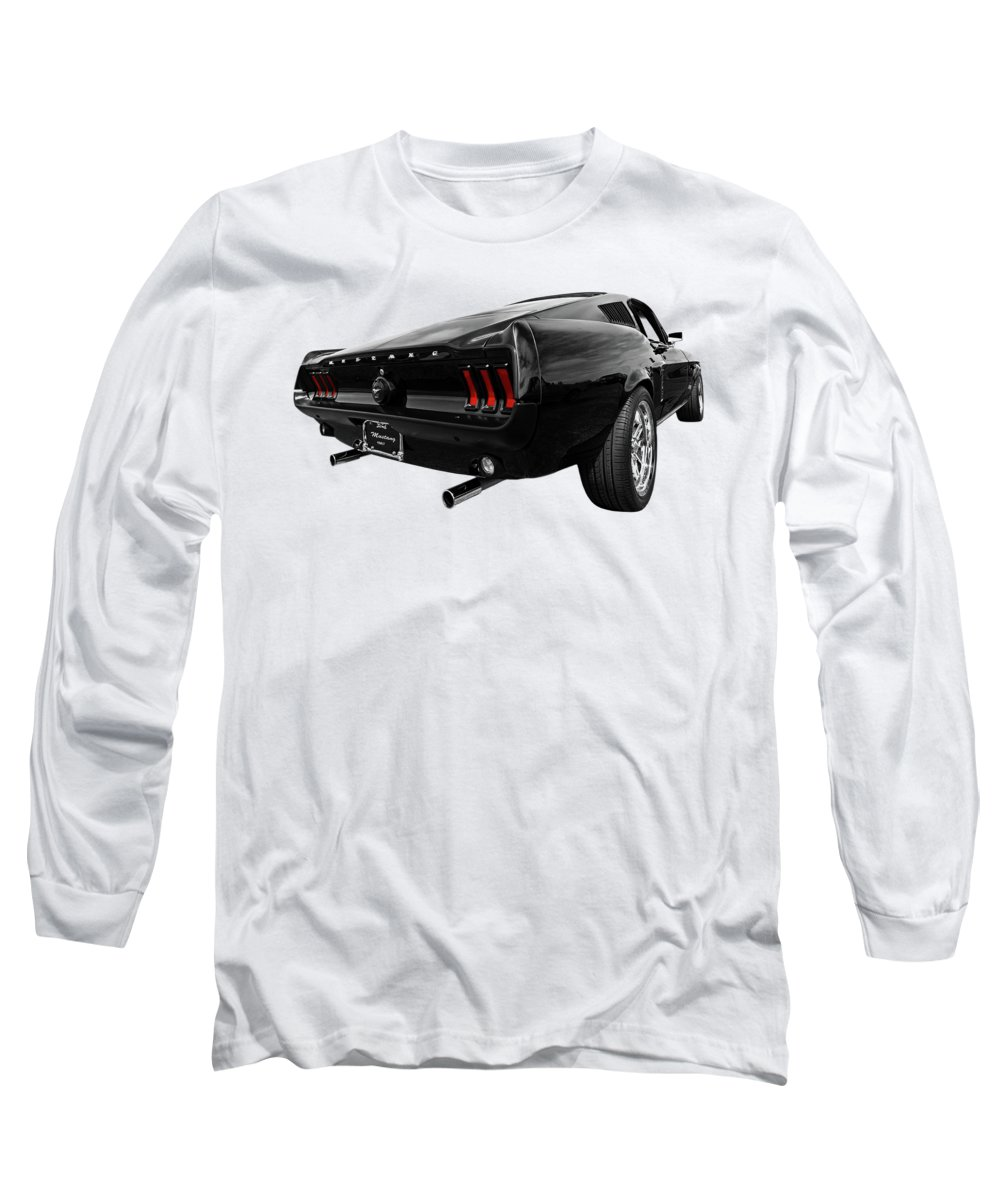 Classic Mustang Long Sleeve T-Shirt featuring the photograph Black 1967 Mustang by Gill Billington