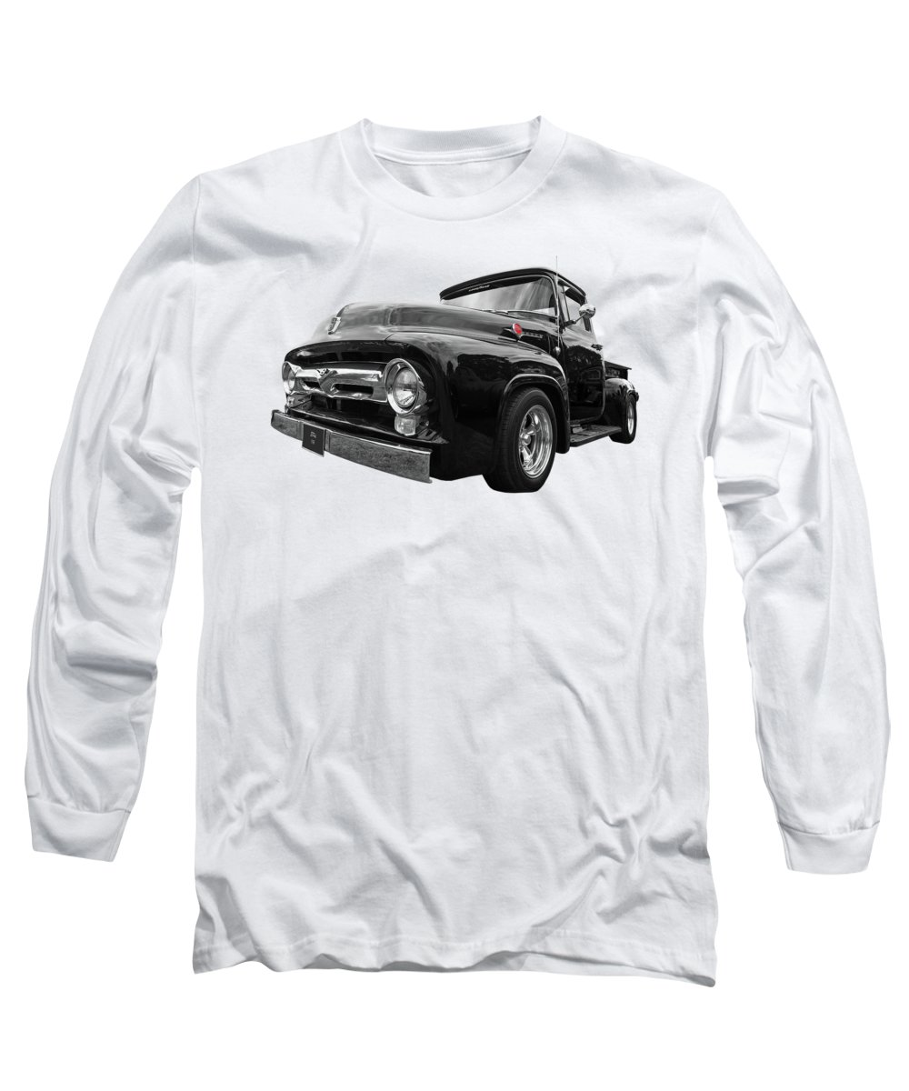 Ford F100 Long Sleeve T-Shirt featuring the photograph Black Beauty - 1956 Ford F100 by Gill Billington
