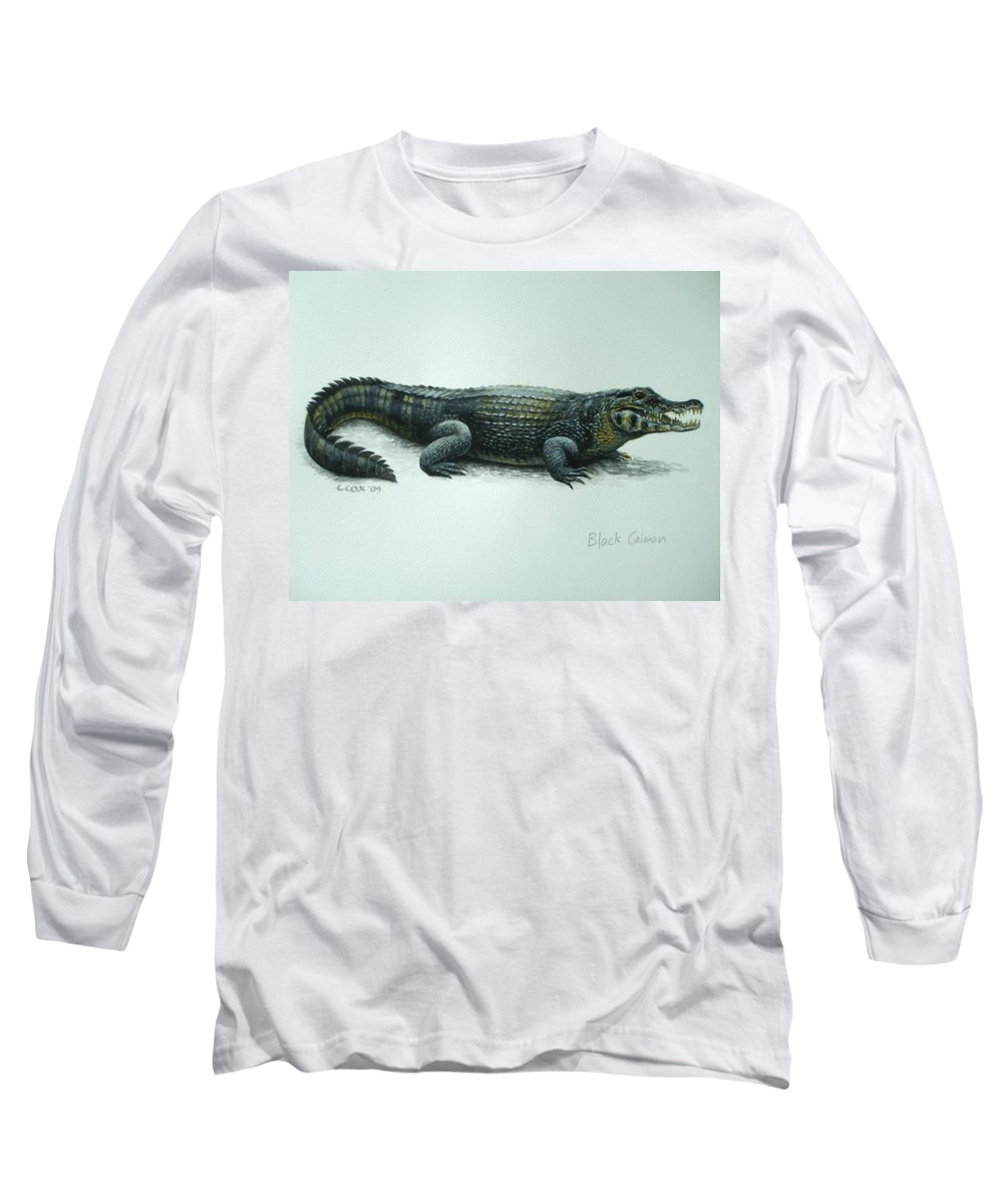 Black Caiman Long Sleeve T-Shirt featuring the painting Black Caiman by Christopher Cox