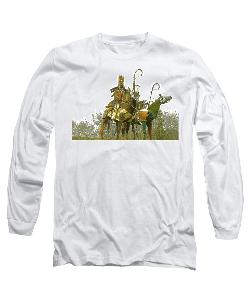 Native American Long Sleeve T-Shirt featuring the photograph Blackfeet Wariors by Nelson Strong