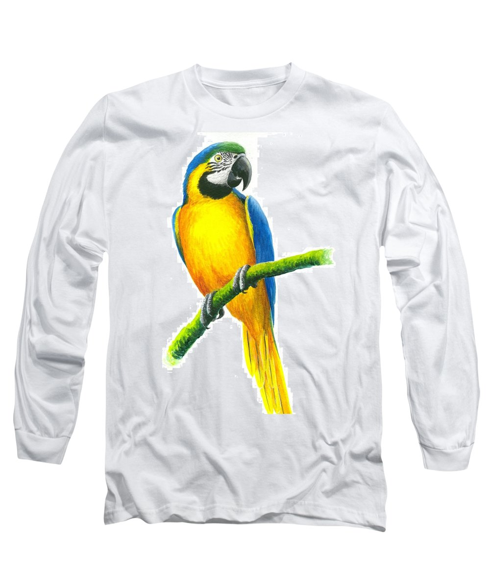 Chris Cox Long Sleeve T-Shirt featuring the painting Blue And Gold Macaw by Christopher Cox
