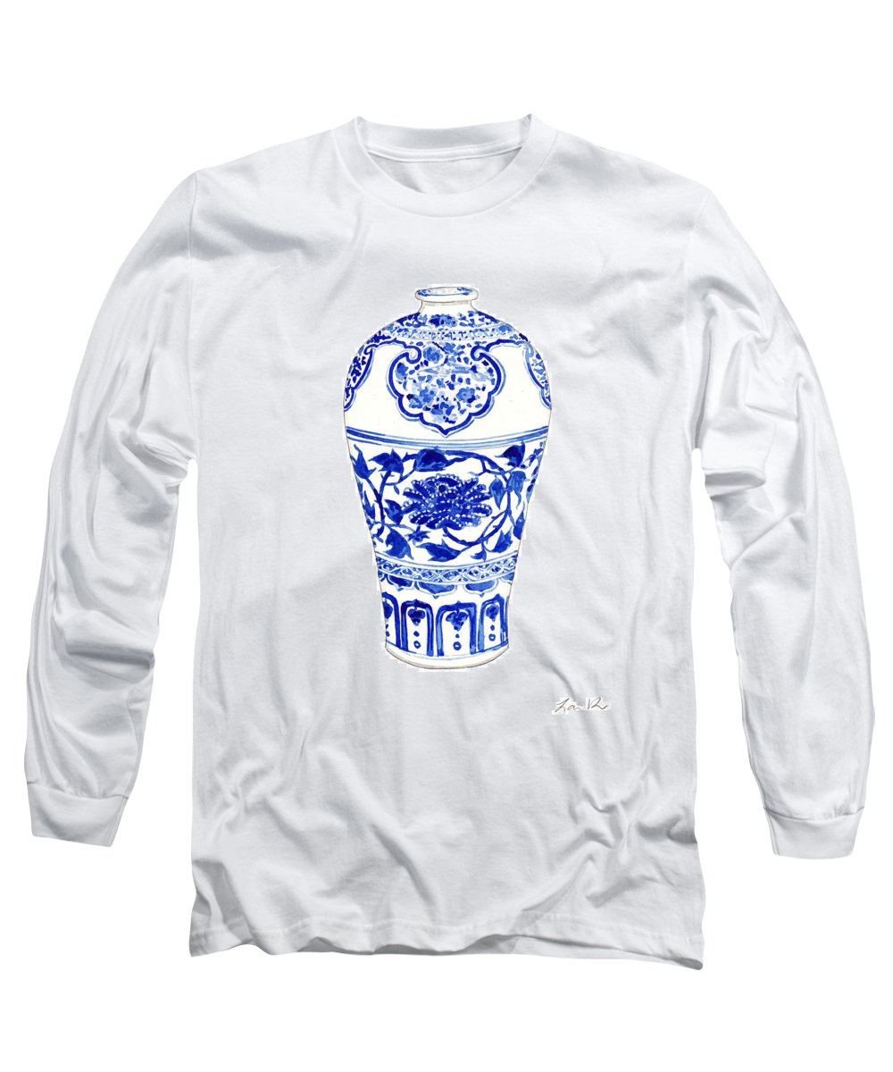 Blue And White China Long Sleeve T-Shirt featuring the painting Blue And White Ginger Jar Chinoiserie 3 by Laura Row