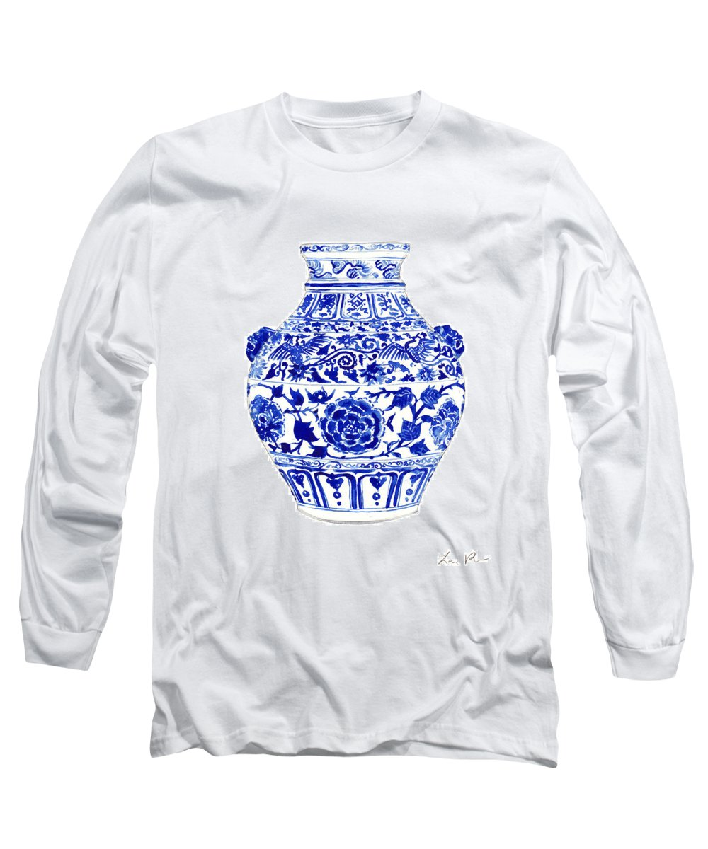 Blue And White China Long Sleeve T-Shirt featuring the painting Blue And White Ginger Jar Chinoiserie 4 by Laura Row