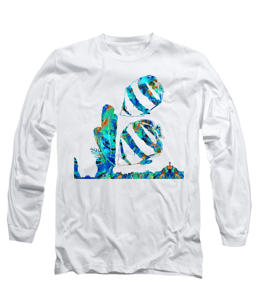Angel Fish Long Sleeve T-Shirt featuring the painting Blue Angels Fish Art By Sharon Cummings by Sharon Cummings