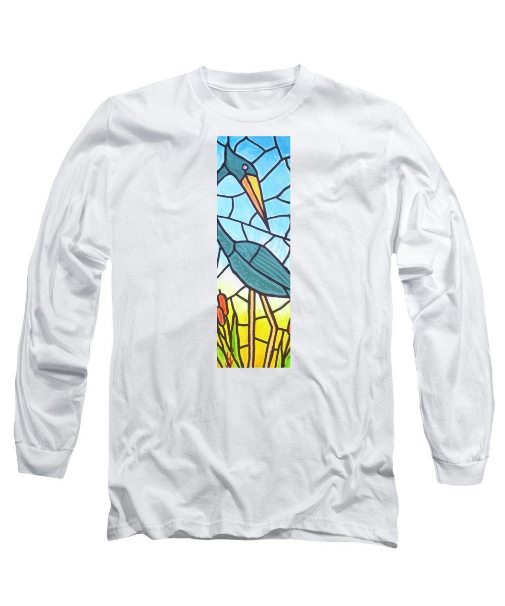 Heron Long Sleeve T-Shirt featuring the painting Blue Heron by Jim Harris