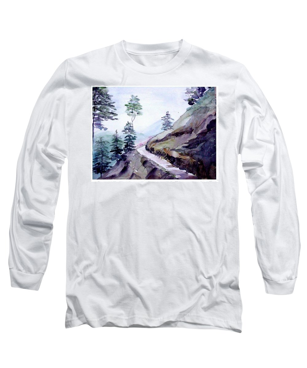 Landscape Long Sleeve T-Shirt featuring the painting Blue Hills by Anil Nene