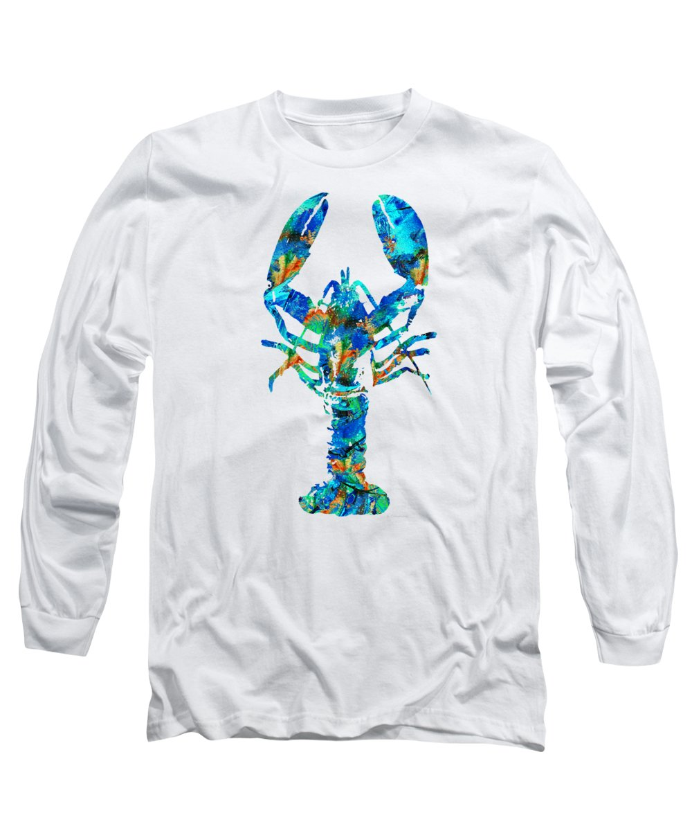 Lobster Long Sleeve T-Shirt featuring the painting Blue Lobster Art By Sharon Cummings by Sharon Cummings