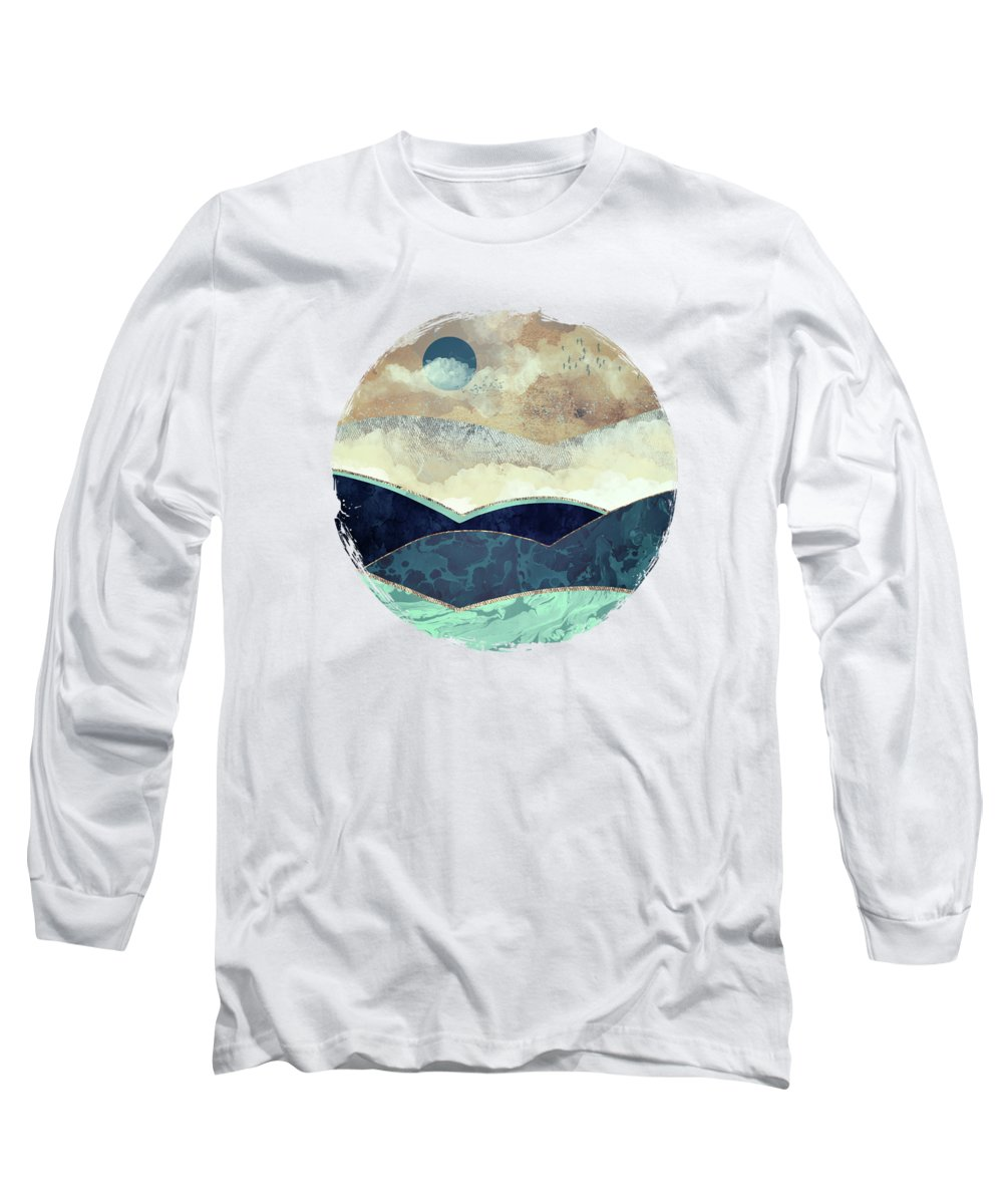 Blue Long Sleeve T-Shirt featuring the digital art Blue Moon by Spacefrog Designs