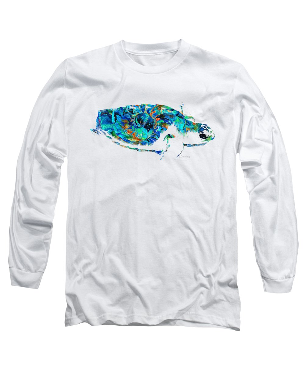 Sea Turtle Long Sleeve T-Shirt featuring the painting Blue Sea Turtle By Sharon Cummings by Sharon Cummings
