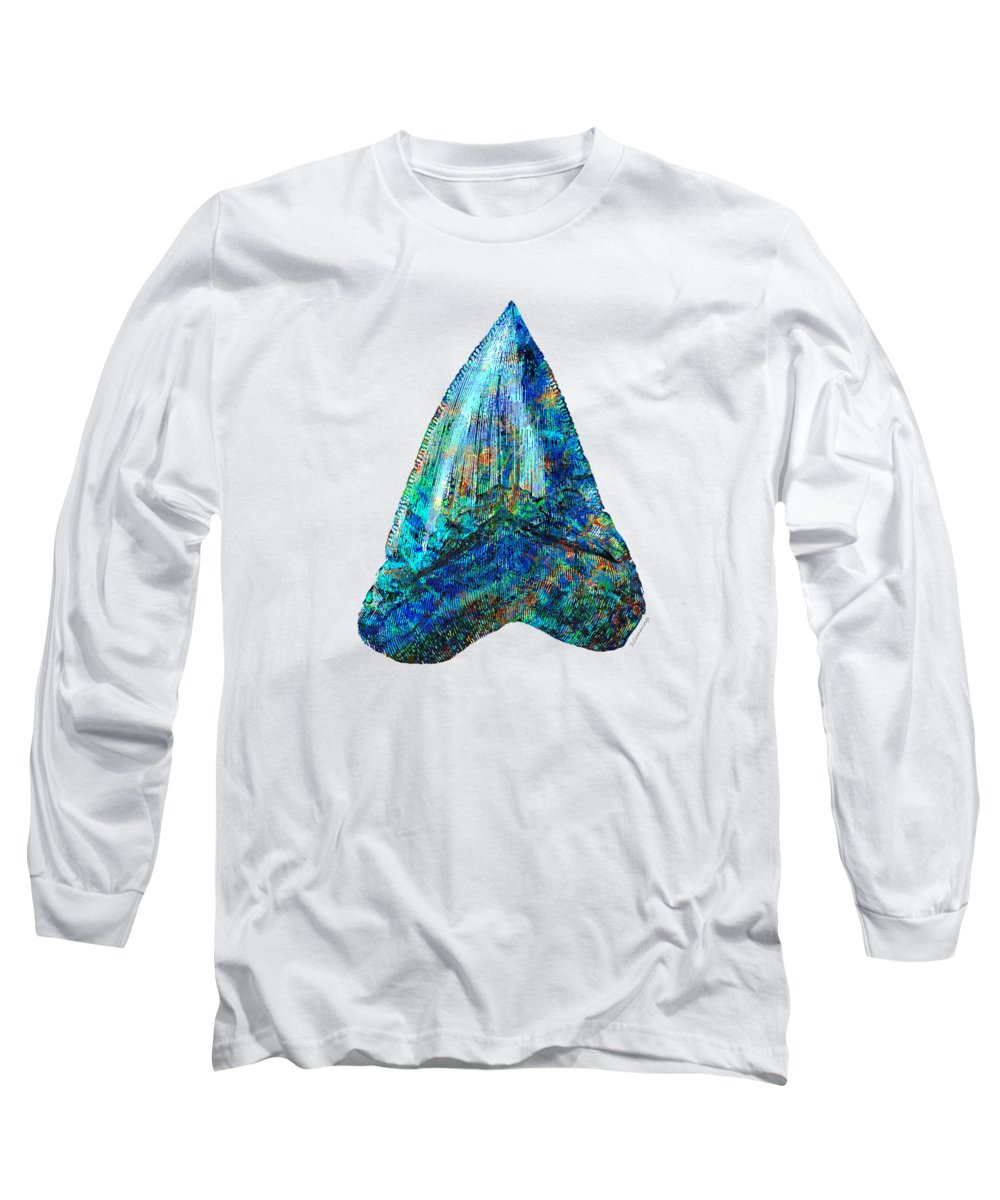 Shark Long Sleeve T-Shirt featuring the painting Blue Shark Tooth Art By Sharon Cummings by Sharon Cummings