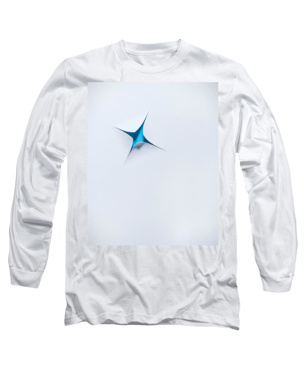 Scott Norris Photography Long Sleeve T-Shirt featuring the photograph Blue Star On White by Scott Norris