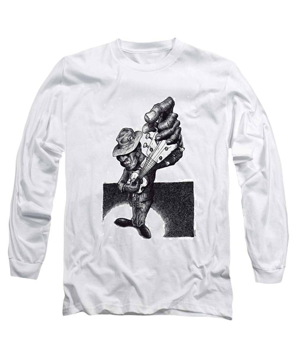 Blues Long Sleeve T-Shirt featuring the drawing Blues Guitar by Tobey Anderson