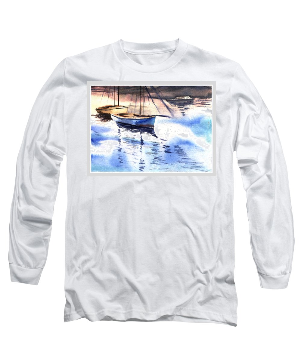 Watercolor Long Sleeve T-Shirt featuring the painting Boat And The River by Anil Nene