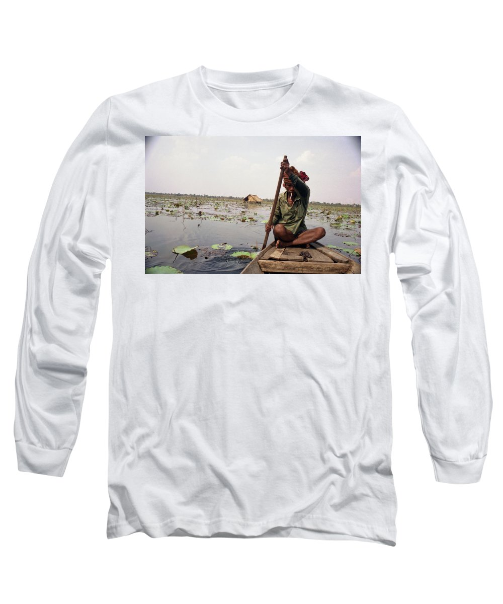 Cambodia Long Sleeve T-Shirt featuring the photograph Boatman - Battambang by Patrick Klauss
