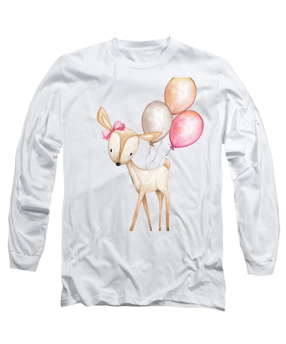 Boho Long Sleeve T-Shirt featuring the photograph Boho Deer With Balloons by Pink Forest Cafe