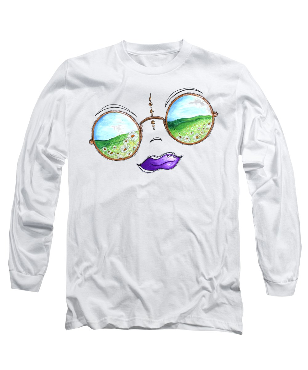 Boho Long Sleeve T-Shirt featuring the painting Boho Gypsy Daisy Field Sunglasses Reflection Design From The Aroon Melane 2014 Collection By Madart by Megan Duncanson