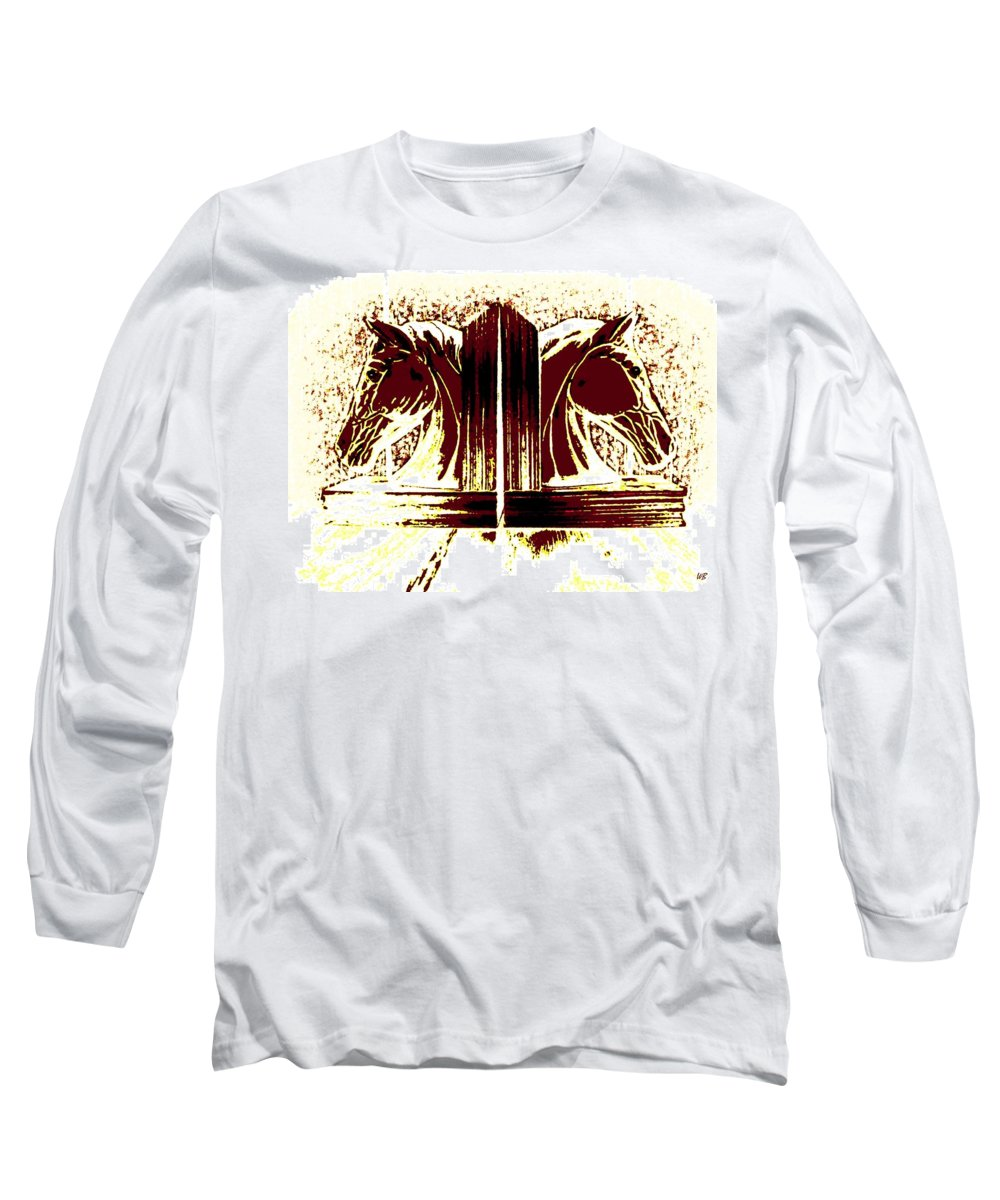 Horses Long Sleeve T-Shirt featuring the digital art Bookend Buddies by Will Borden