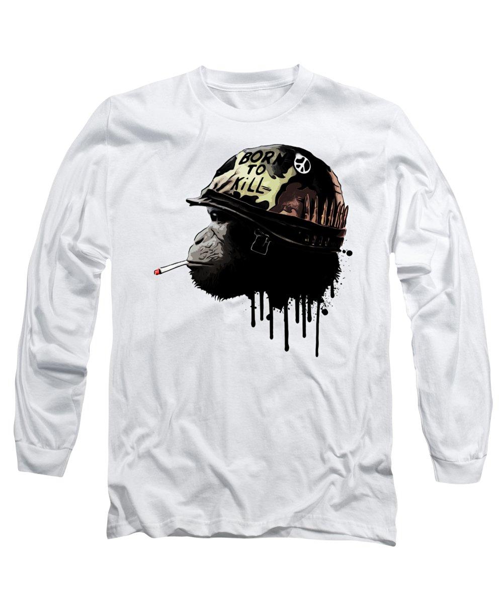 Monkey Long Sleeve T-Shirt featuring the digital art Born To Kill by Nicklas Gustafsson