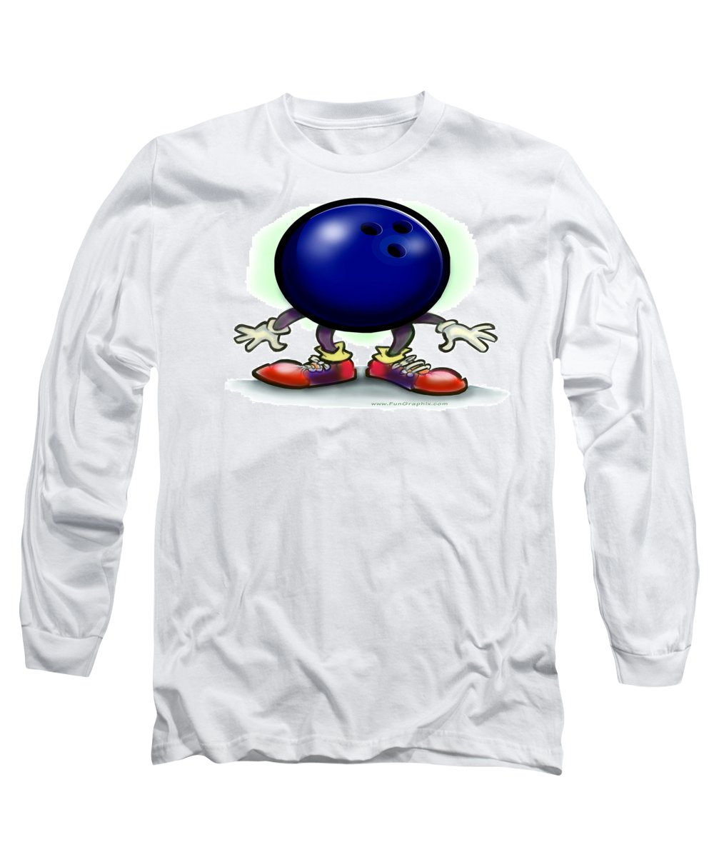 Bowl Long Sleeve T-Shirt featuring the greeting card Bowling by Kevin Middleton
