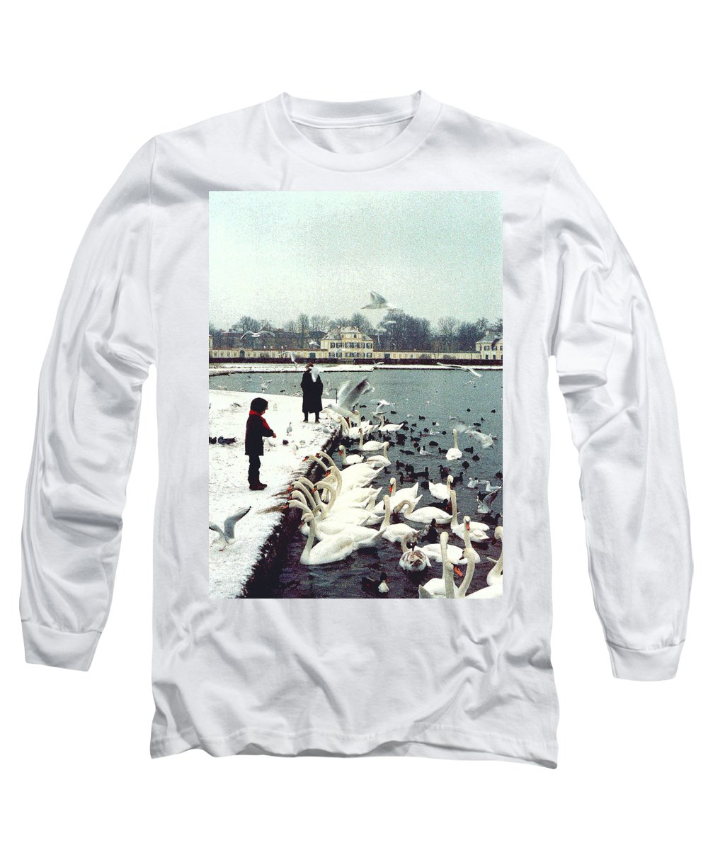 Swans Long Sleeve T-Shirt featuring the photograph Boy Feeding Swans- Germany by Nancy Mueller