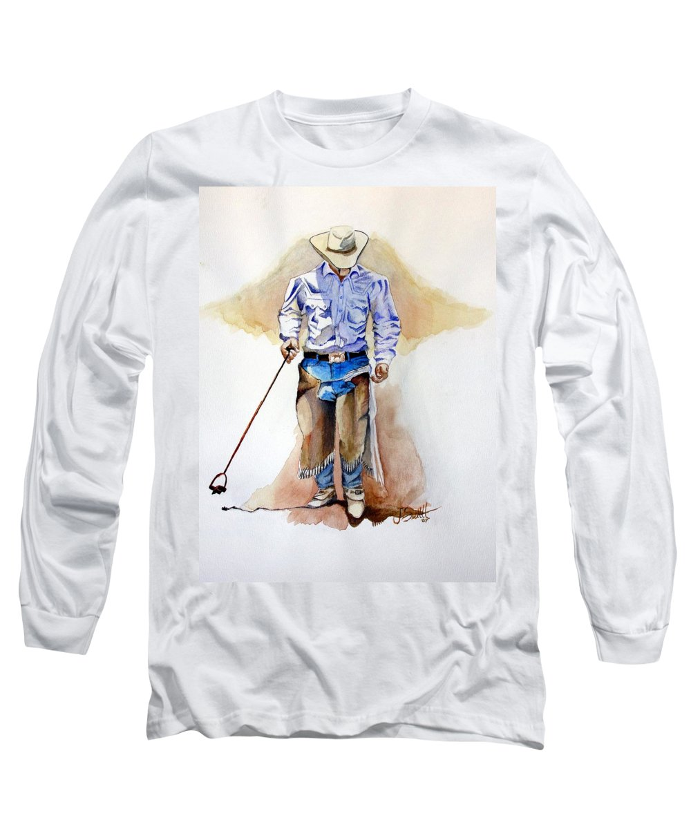 Western Long Sleeve T-Shirt featuring the painting Branding Blisters by Jimmy Smith