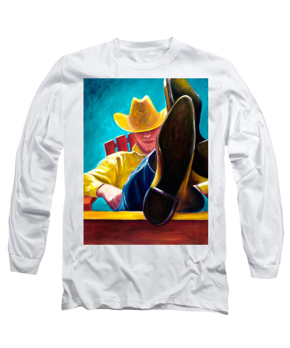 Western Long Sleeve T-Shirt featuring the painting Break Time by Shannon Grissom