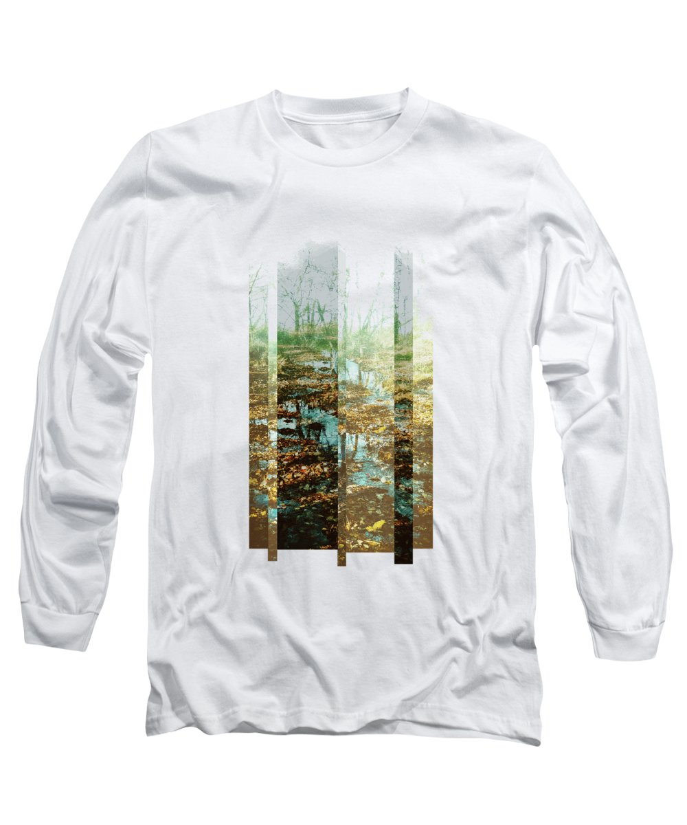 River Long Sleeve T-Shirt featuring the digital art Brushy Fork by Katherine Smit