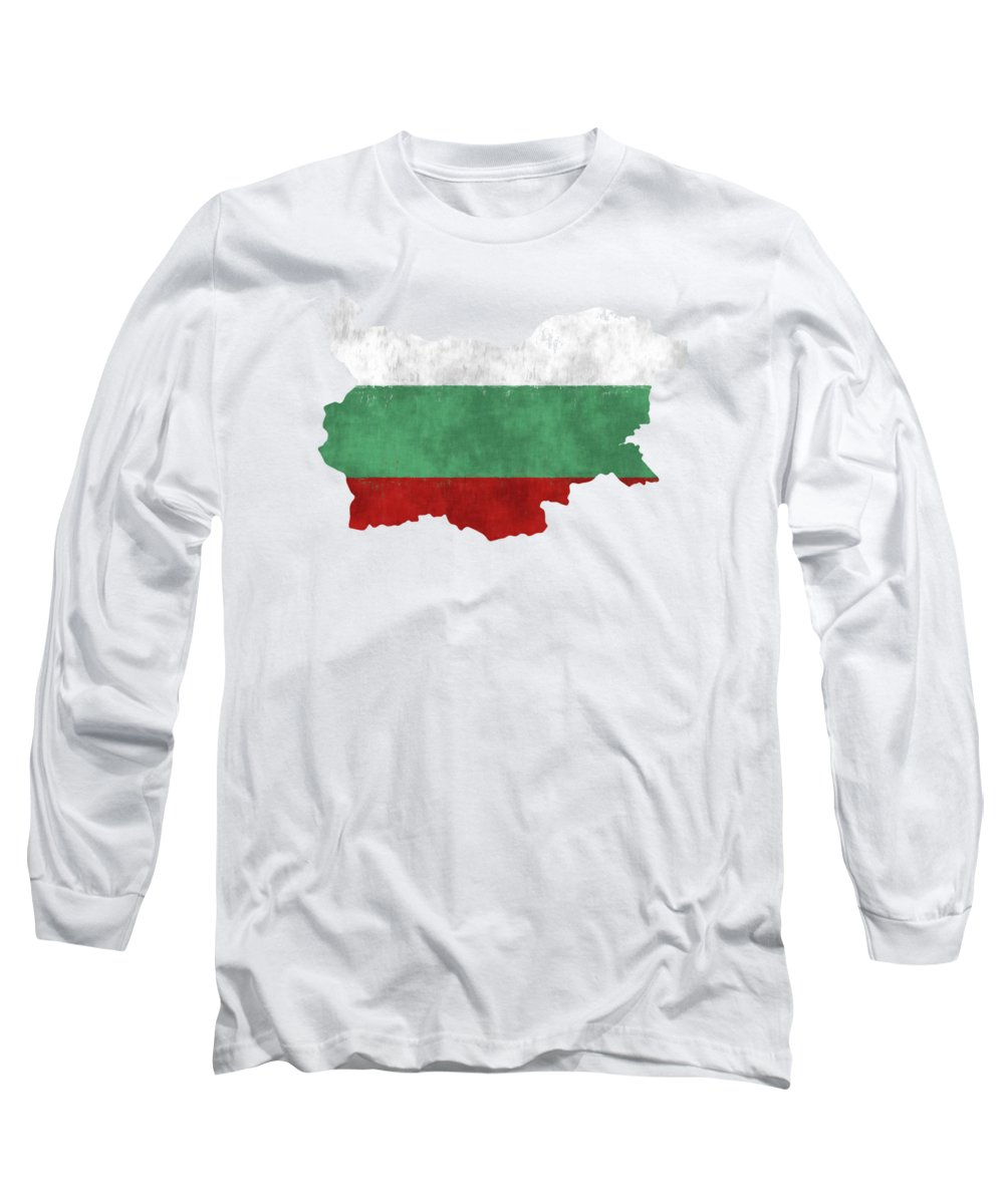 Bulgaria Long Sleeve T-Shirt featuring the digital art Bulgaria Map Art With Flag Design by World Art Prints And Designs
