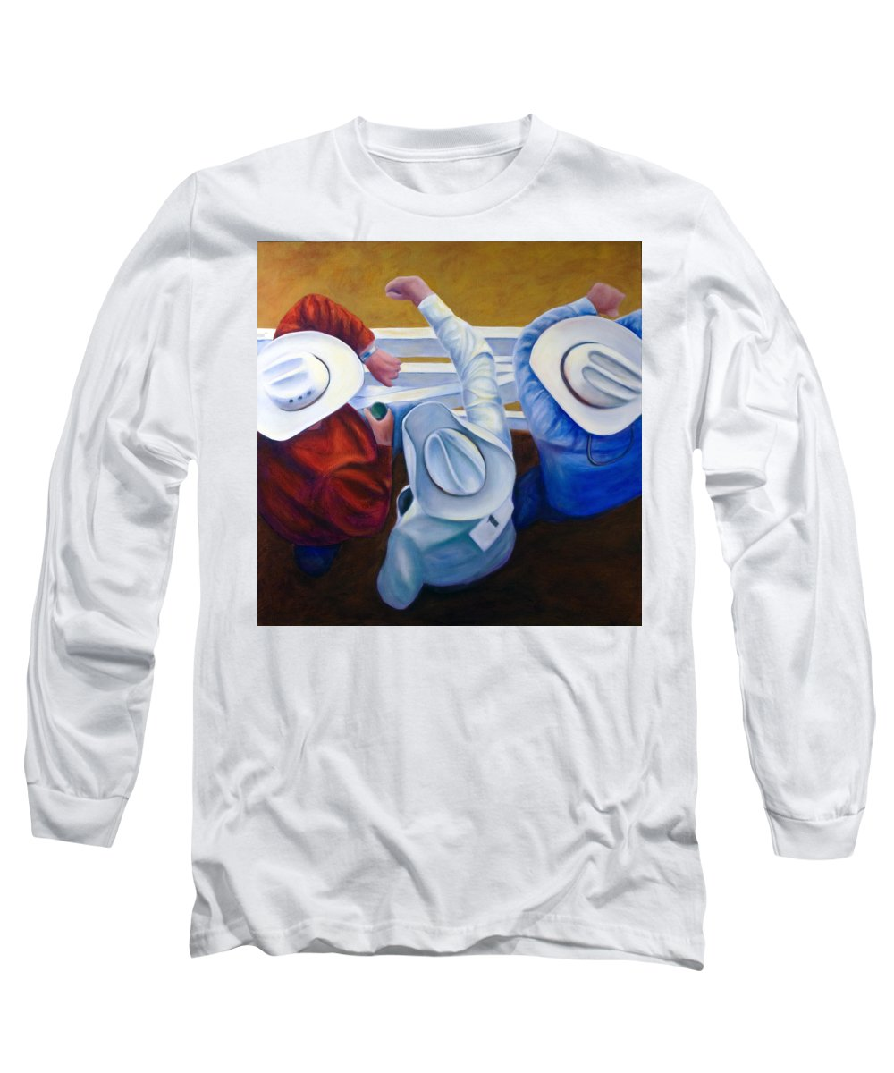 Western Long Sleeve T-Shirt featuring the painting Bull Chute by Shannon Grissom