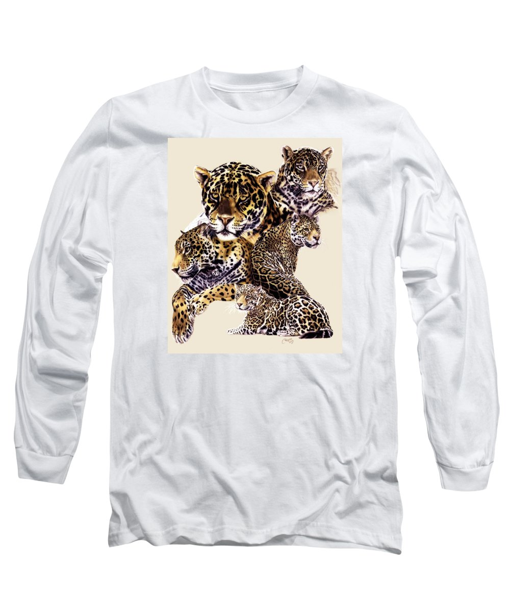 Jaguar Long Sleeve T-Shirt featuring the drawing Burn by Barbara Keith