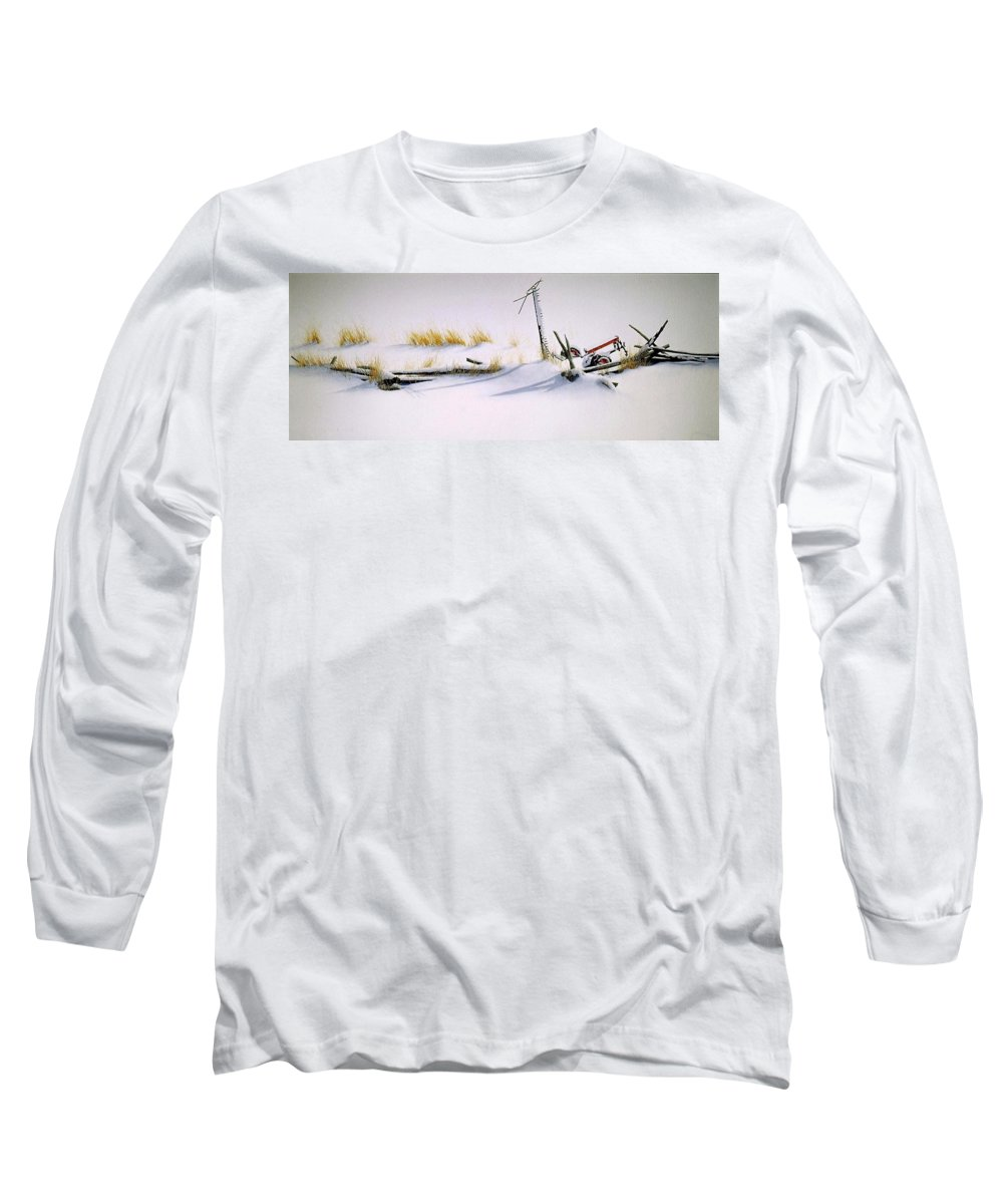 Winter Long Sleeve T-Shirt featuring the painting Burried And Forgotten by Conrad Mieschke