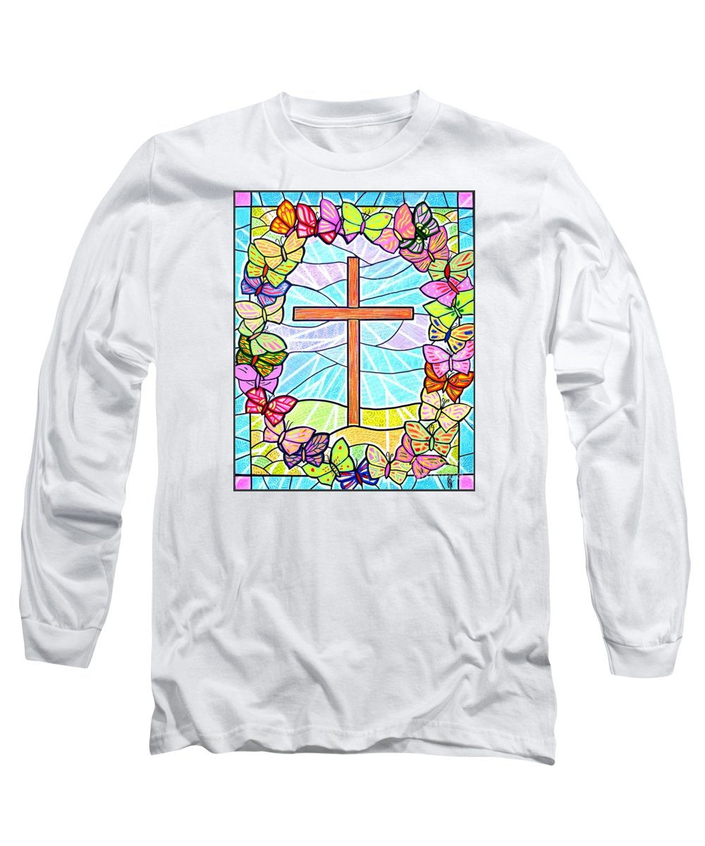 Easter Long Sleeve T-Shirt featuring the painting Butterflies And Cross by Jim Harris